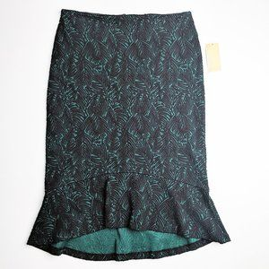 Michael Kors Jacquard Ruffle Pencil Skirt Green